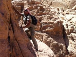 Climbing in Wadi Rum
